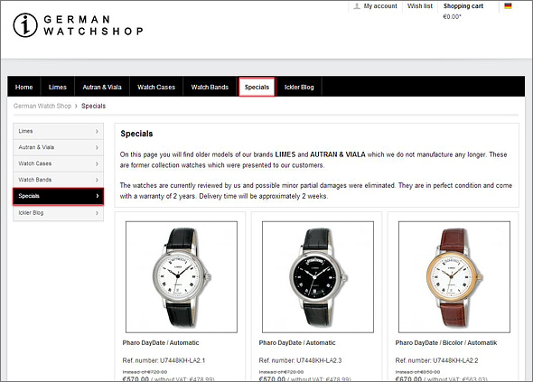 Photo of the Website German Watch Shop